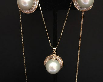 Pearl Jewelry SET - Gold; Wedding Pearl Jewelry Set; Genuine Cultured White Pearls; Round Pearls; High Quality Pearls SET; AA pearls;