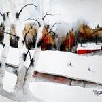Original Watercolour Painting by Jim Lagasse   Silver Birch Trees Painting   Original Snowy Landscape Watercolour   Winter Trees Painting