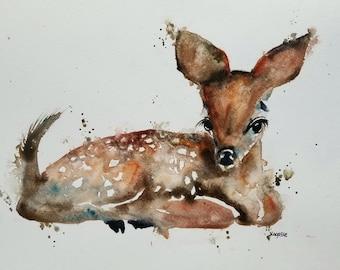 ORIGINAL Fawn watercolor painting original WATERCOLOR Deer Painting, animal painting, children's room, Fawn paintings