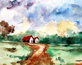 Painting, Original Watercolor landscape, original painting, semi abstract and minimalist art, gift idea, now trending. Christmas sale