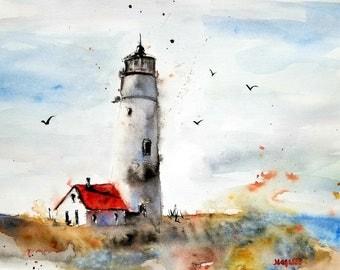 Watercolor Print/LANDSCAPE original watercolor/original Print modern /LANDSCAPE /Lighthouse Prints/Maine Art/Jim Lagasse