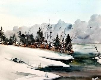 Painting, Original Watercolor landscape, original painting, winter landscape, gift idea, now trending. Christmas sale