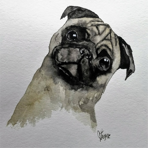 watercolor dog painting pug art dog print watercolor etsy. Black Bedroom Furniture Sets. Home Design Ideas