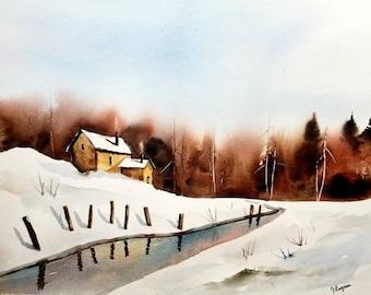ORIGINAL painting Watercolor, Landscape Painting, watercolor original, Pinetreeart, landscape original, painting, Maine, winter landscape