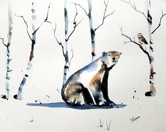 The Owl and the Polar Bear Print, Watercolor Print. nursery art, kid's room art, Owl Print, painting, Watercolor Print, Animal Prints