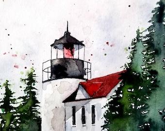 ORIGINAL painting Watercolor, Lighthouse Painting, watercolor lighthouse, Pinetreeart, WATERCOLOR, landscape original, Bass Harbor, Maine