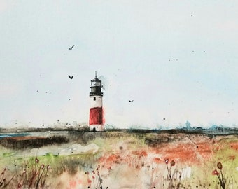 Lighthouse Original painting Watercolor, Lighthouse Painting, watercolor lighthouse, Pinetreeart, WATERCOLOR, landscape, painting, Maine