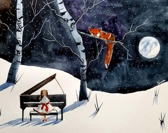 The Fox and the Piano Player, Painting. Original Children's book art. nursery art, kid's room art, Fox Painting, painting, Watercolor