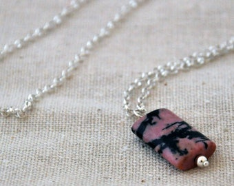 Rhodonite gemstone sterling silver necklace