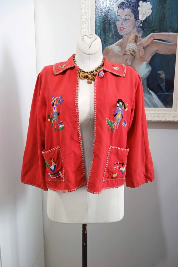 40s Linen Bolero Novelty Mexican Red Cotton Embroi