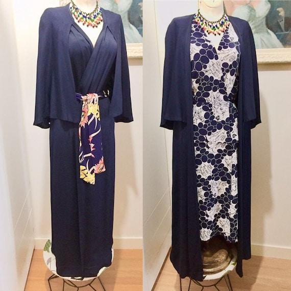 Vintage 30's 40s Cape Coat Dress Dark Blue Rayon B