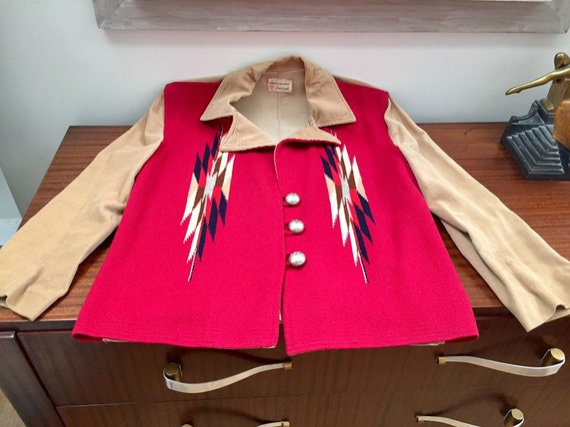 Ganscraft 40's Chimayo Jacket Vintage Woven Wool … - image 9