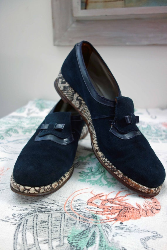 Vintage 40s CC41 Utility Marked Blue Suede Shoes W