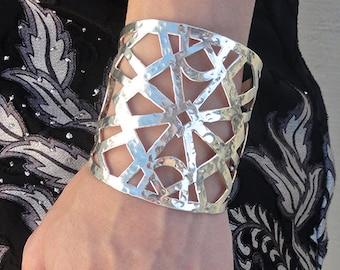 Sacred Geometry Brass Cuff, wide, large cuff, geometric jewelry, cuff bracelet, handmade, made in CA.