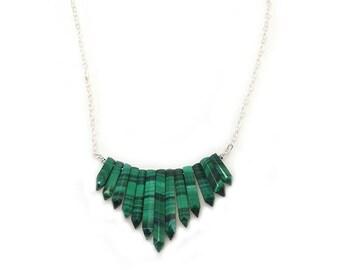 Malachite Point Necklace, green crystal, malachite stone, sterling silver chain, malachite jewelry, made in CA.