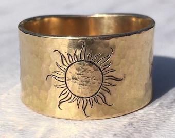 13mm Wide 14kt Yellow Gold Wedding Band, Sun Ring, Custom sun engraving, hammered wedding band