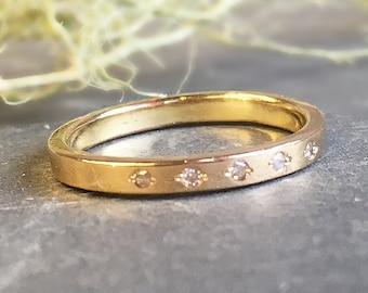 14kt Gold Diamond Wedding Band, 2mm Flat Shank, Size 6.75