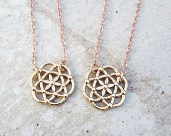 Seed of Life Necklace, Flower of Life, Pendant, handmade in CA