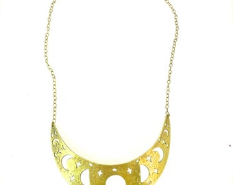 Moon Phase Bib Necklace,  hammered brass, crescent moon bib necklace. moon jewelry, Made in CA.