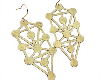 Tree of Life Earrings, kabbalah earrings, geometric dangle earring, brass, made in CA.