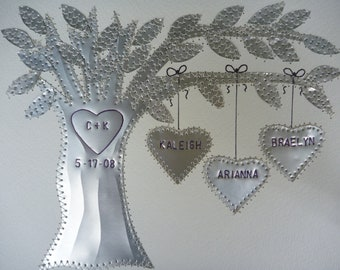 Tin Anniversary Gift - 10 Year Anniversary Gift - Family Tree - Personalized - Hearts - Tree - St&ed Names and Wedding Date - Aluminum & 10 year anniversary | Etsy