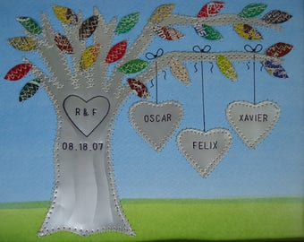 Ten Year Anniversary Gift - Tin Wedding Gift - Aluminum Gift Hearts Family Tree Personalized Engraved Dates and Names Stamped