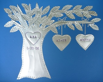 10 Year Anniversary Wedding Gift Ten Anniversary Gift Hearts Family Tree Personalized Engraved Dates and Names Stamped