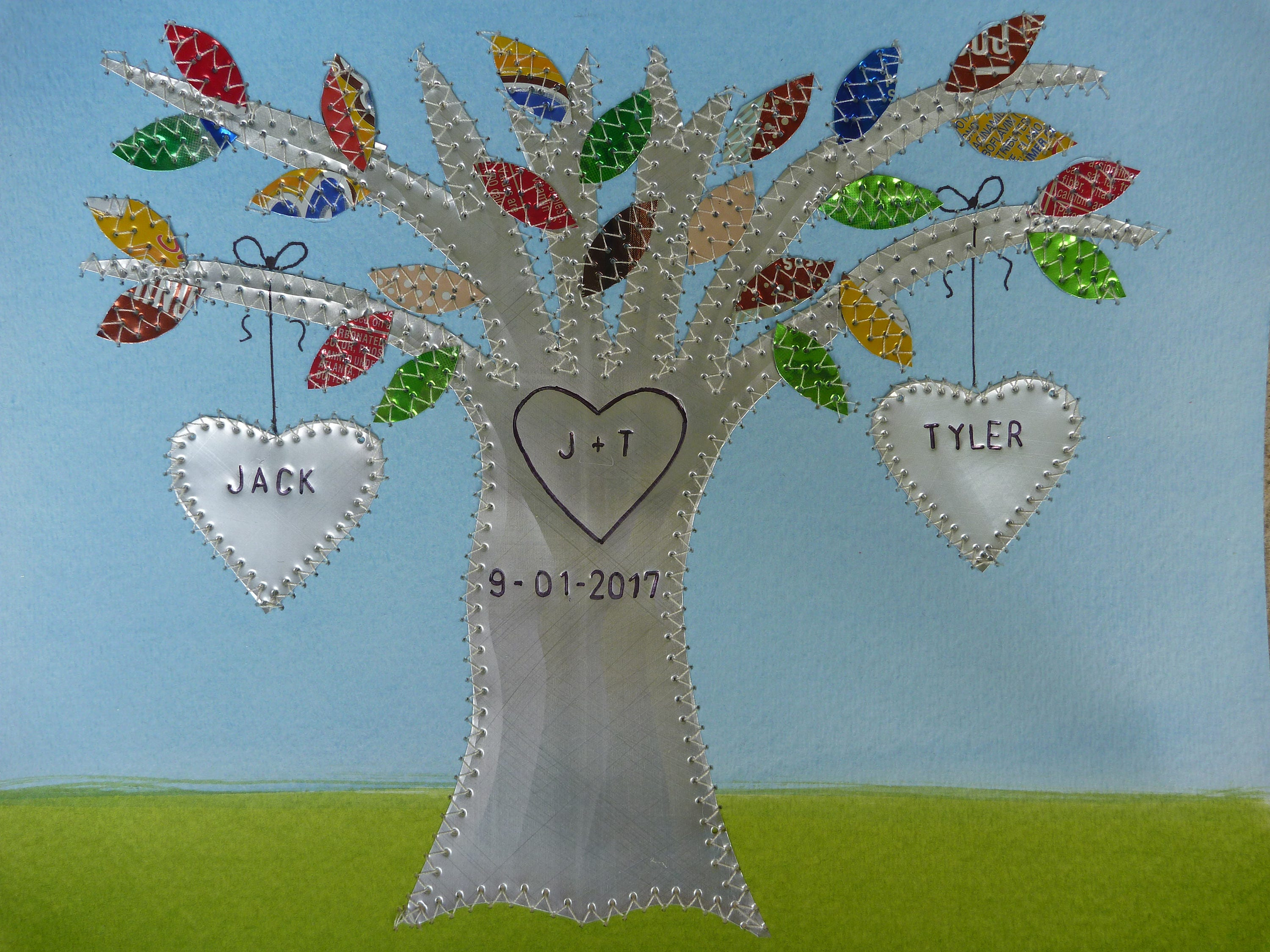 Tin Wedding Anniversary Gift: Tin Year Anniversary Gift Aluminum Wedding Tree Gift