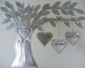 10 Year Anniversary Gift, Tin Anniversary Gift, Anniversary, Family Tree,  Personalized Names and Wedding Date Stamped, Aluminum Anniversary