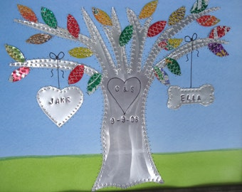 Tin Anniversary Gift - 10 Year Anniversary Wedding Gift - Hearts - Family Tree Personalized Engraved Dates and Names Stamped