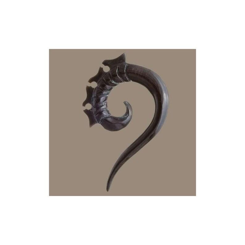 Gauge jewelry Tribal stretcher Ear stretcher Horn Spiral Ear Stretcher Horn ear stretcher Organic stretcher Solid hook Tribu Gauges