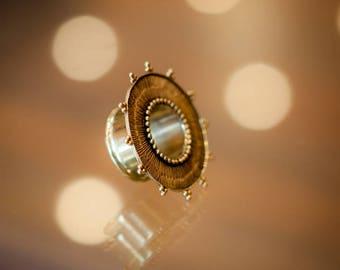 Ear plugs, Ear gauge, Flesh tunnel, Gauge earrings, Tribal Sun Brass Plug, Sun Brass Ear Tunnels, Rustic Tunnels, Tribal Gauge Jewelery