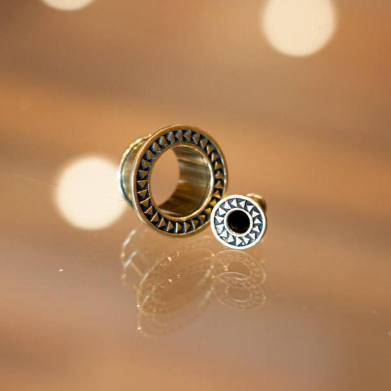 Tribal Brass Flesh Tunnel Ear Plugs Brass Ear Gauges Brass Ear Tunnel Aztec Earring Ear Stretcher Tribal Plug Tribal Jewellery