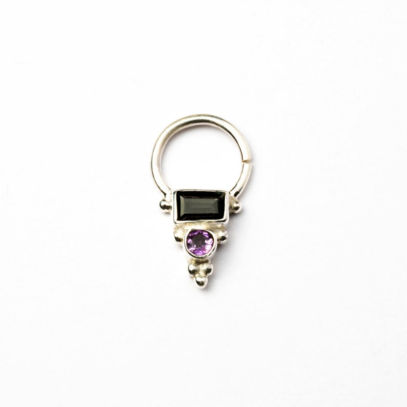 Silver Nose Ring Septum jewelry,Boho Septum Septum Nose Ring Helix Silver Septum Ring with Turmaline and Amethyst Cartilage UK Tragus