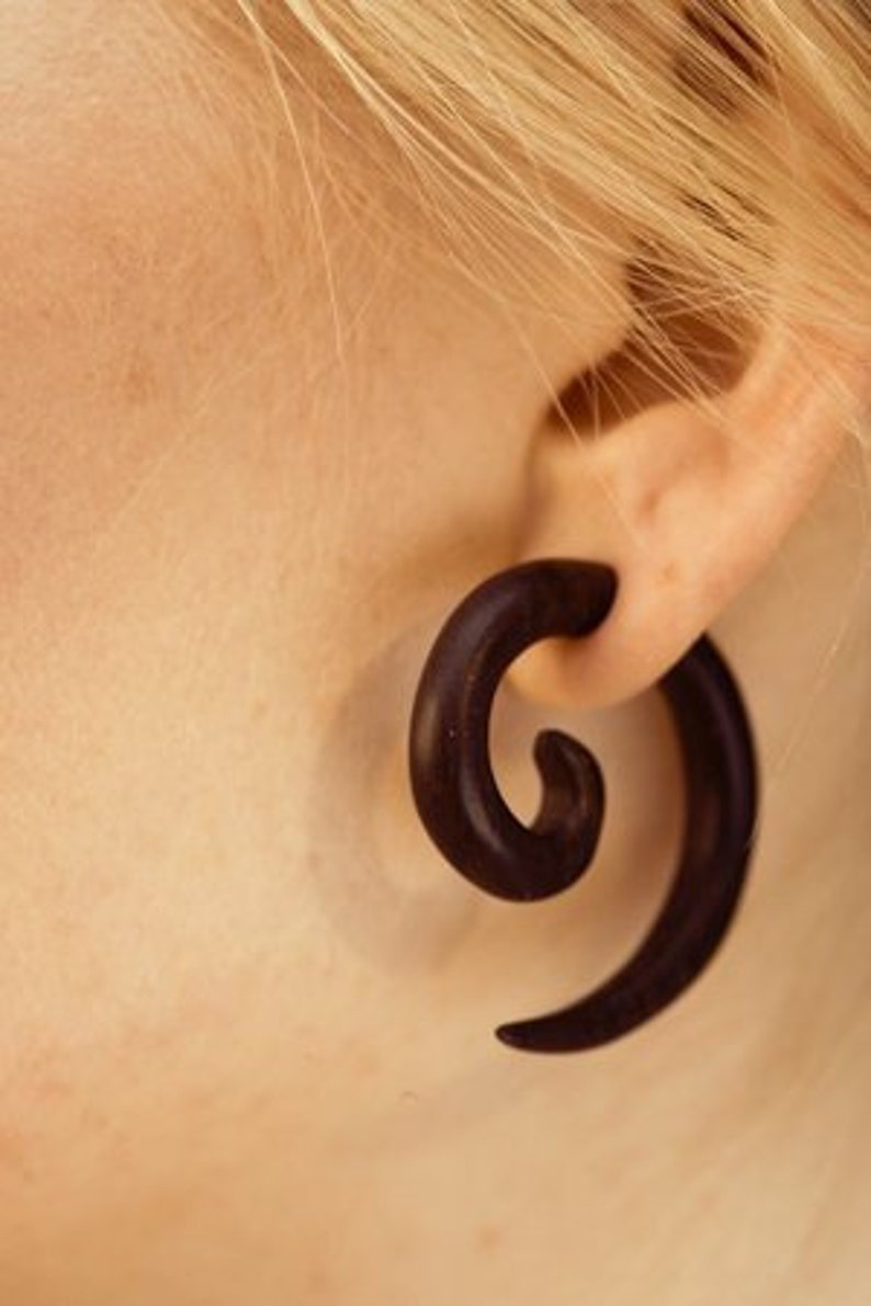 Small Spiral Ear Gauge Ethnic Taper Gauges Tribal Style Wooden Ear Stretcher