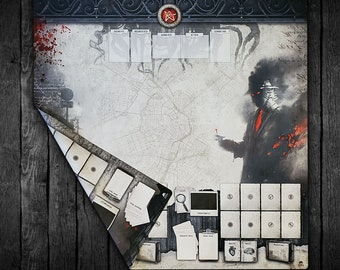 Playmat for Arkham Horror LCG, Extra Large Double-Sided Player Mat for Arkham Horror 2 Player & Solo - Streets of Arkham