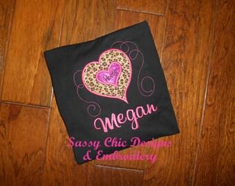 3d01db19aa0b46 Leopard Print Girls Personalized Girls Leopard Print shirt Personalized  Heart Shirt Boutique Style Leopard Print Shirt Heart Applique Shirt