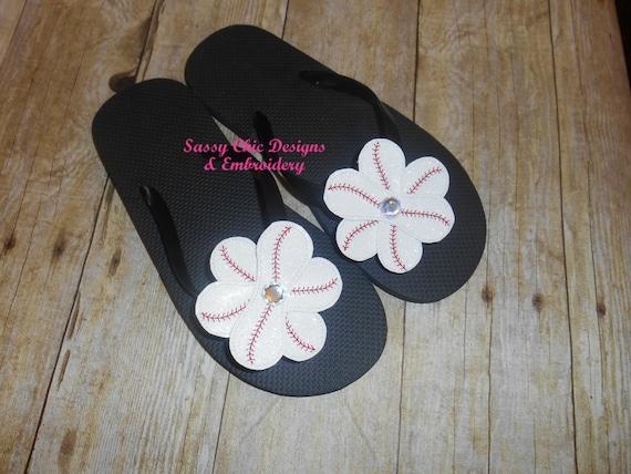 2e7941ca5027e1 Baseball Bling Flower Baseball Flip Flops Boutique Style