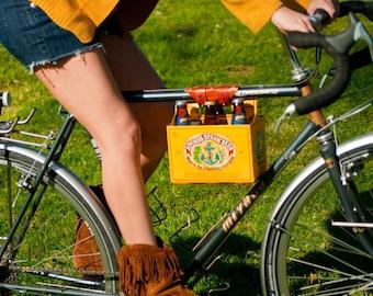 "Bike Beer Holder - The ""6-Pack Frame Cinch"" - Leather Bicycle Beer Carrier"