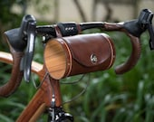 "Bicycle Handlebar Bag - ""The Barrel Bag"" Bicycle Bag - Leather Bicycle Accessories"