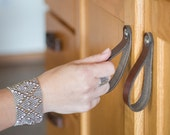 "Leather Drawer Pull - The ""Hawthorne (Large)"" - Leather Cabinet Door Handles and Drawer Knobs"