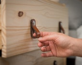 "Leather Drawer Pull - The ""Hawthorne (Small)"" - Leather Cabinet Door Handles and Drawer Knobs"