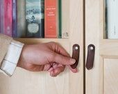 """Small Leather Cabinet Knob - The """"St. Johns"""" - Handcrafted Leather Dresser Knobs and Drawer Pulls"""