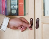 "Leather Tab Pull - The ""St. Johns"" - Leather Door Knob and Drawer Pull"