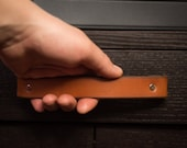 "Leather Drawer Handle - The ""Tilikum (Large)"" - Leather Cabinet Door Handles and Drawer Pulls"