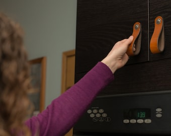 """Leather Drawer Pull - The """"Hawthorne (Wide)"""" - Handcrafted Leather Drawer Pulls and Cabinet Knobs"""
