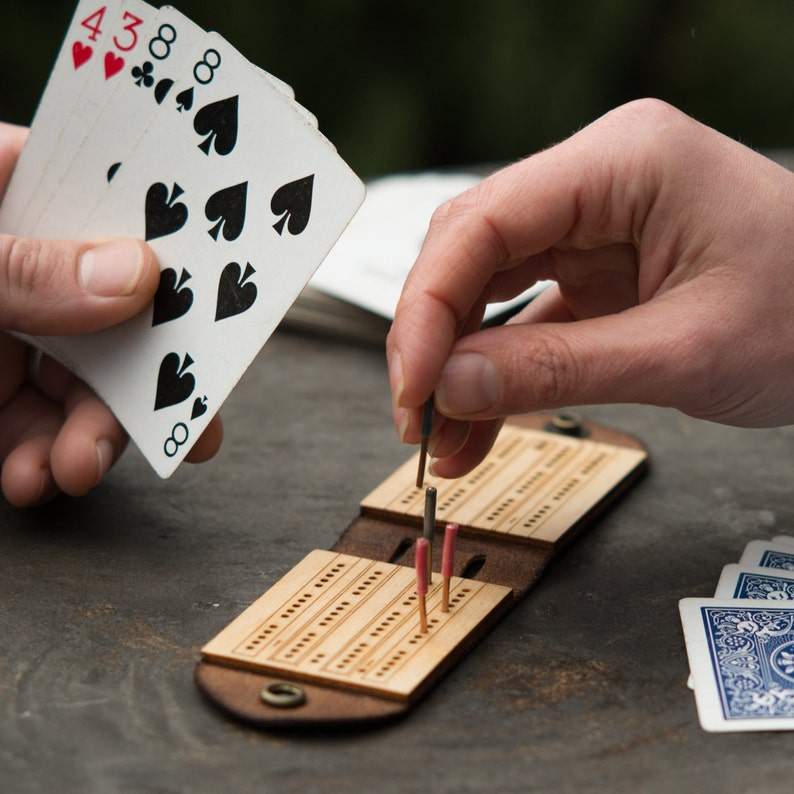 Travel Cribbage Board  Monograms Available  Personalized image 0