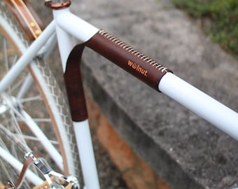 """Leather Top Tube Protector and Bicycle Carrier - The """"Portage Strap"""" - Leather Bicycle Accessories"""