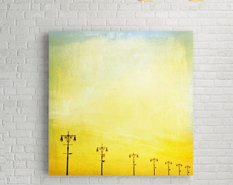 Large Canvas Art // Coney Island Boardwalk Canvas Print // Canary Yellow Canvas Wall Art // For A Vintage, Romantic Style Home // Minimalist