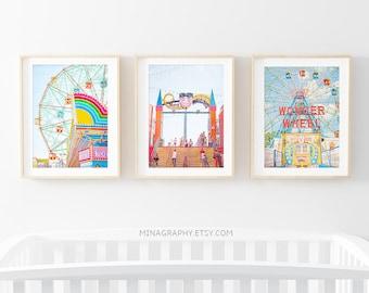 Kids Room Art Prints // Nursery Wall Art Set // Brooklyn Brightly Colored Art Prints // Prints for Kids Room // Brooklyn Boardwalk Carnival